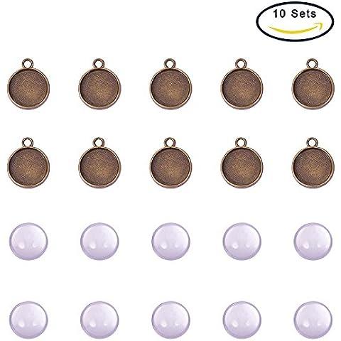 Pandahall 10 Set 12mm Cabochon di Vetro Cupola Trasparente e Ciondoli Basi Stile Tibetano Bronzo Antico,Senza Nichel & Piombo, Ciondolo: 18x14mm, Foro: 2mm; Vassoio :