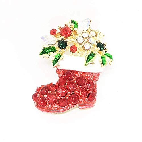 MingXinJia Mode Broschen Pins Damenbrosche Christmas Series Brosche High-End-Weihnachtsschneemann Sleigh Bells Rotes Öl Emaille Stiefel Brosche für Frauen und Mädchen (Christmas Sleigh Bells)
