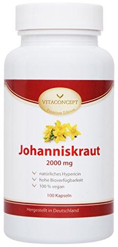 Johanniskraut-Extrakt 2000 mg *inclusive natürlichem Hypericin - Das Original nach Johannes dem Täufer (Herrgottsblut) * 100 vegetarische Kapseln hochdosiert *made in Germany* von VITACONCEPT