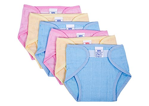 Baby Joy- New Just Born Padded Cushioned Muslin Double Cotton Thick Cloth Diaper/Langot Nappies,(0-3Months) Mini, Pack Of 6,Multicolor.
