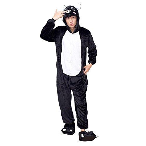 Imagen de abyed kigurumi pijamas unisexo adulto traje disfraz adulto animal pyjamas,cerdo negro adulto talla xl para altura 175 183cm alternativa