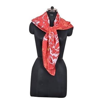 Girl's Floral Print 100% Cotton Face Scarf (Size- 100 x 100 Cm)