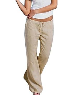 Aiweijia Pantaloni a campana da donna morbidi e comodi pantaloni di lino a vita alta con tasche e pantaloni casual