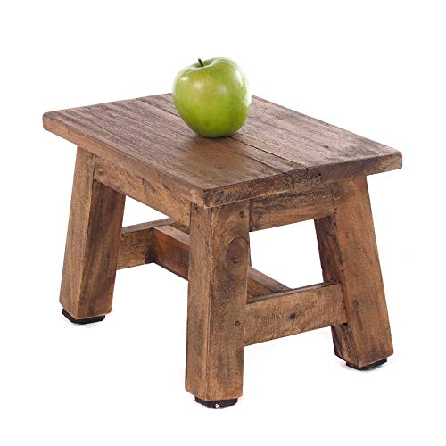DESIGN DELIGHTS RUSTIC FOOTSTOOL MONTE | 21x30x20 cm (HxWxD), recycled mahogany wood | wooden stool | Colour: 01 natural-vintage