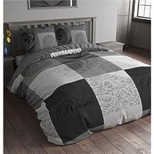 3piezas ropa de cama franela Flanel 200x 220cm texto Rose Gris Anth raziet