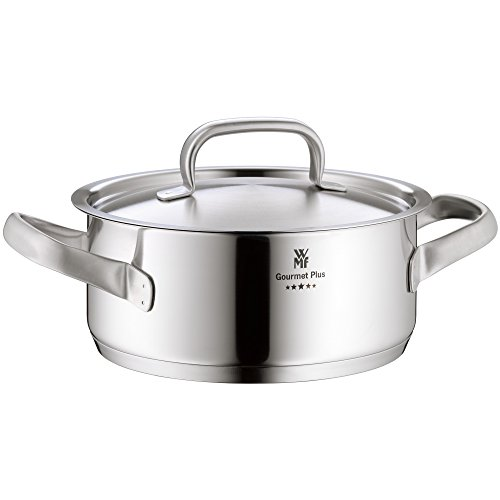 WMF cookware Ø 20 cm approx. 2,5l Gourmet Plus Inside scaling  vapor hole Made in Germany hollow side handles metal lid Cromargan stainless steel  suitable for all stove tops including induction dishwasher-safe