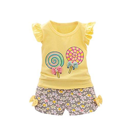 Fossen Bebe Niña Camiseta Sin mangas de Lollipops y Pantalones cortos  Florales Conjunto de Ropa Verano 380963b22d6e8