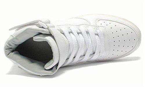 (Présents:petite serviette)JUNGLEST® 7 Couleur Unisexe Homme Femme USB Charge LED Lumière Lumineux Clignotants Chaussures de Sports B Blanc haute