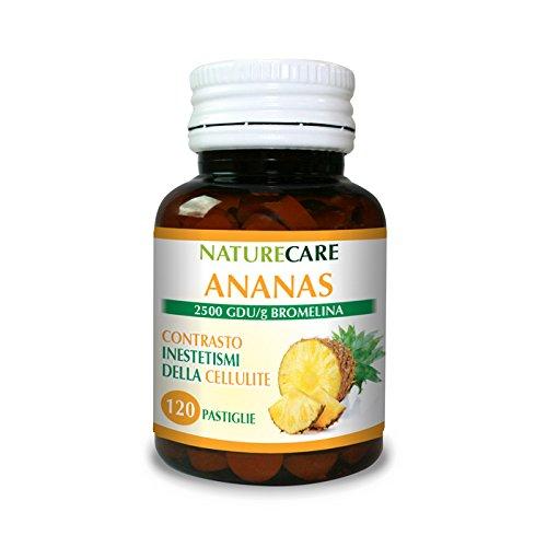 Combatti la cellulite con l'estratto d'ananas! offerta speciale sull'ananas naturecare 120 pastiglie, ricchissimo di bromelina (titolato 2500 gdu/g) e naturale al 100%.