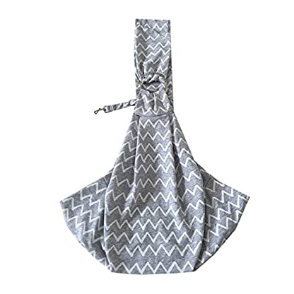 PENIVO Pet Dogs Sling Carrier Bag Grey Striped Soft Comfortable Hands-free Adjustable Shoulder Bag for Dog / Cat Bicycle… 2