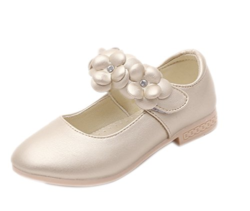 La Vogue Zapatos Princesa de Niña Flor para Boda Cumpleaños Dorado Color 26 Longitud de Pie 15.8CM