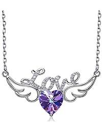 41f9915cd8795 ZSML Amour Pendentif Coeur Colliers Ailes d ange avec Swarovski Elements  Cristaux océan Pendentif Bleu