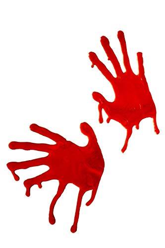 Smiffys - Bluthände Fensterdeko Blut Hand Horror Halloween Hände Fenster Deko, Rot (Halloween Knochen Uk)