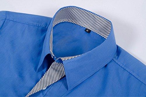 YR.Lover Shirt Herren Gestreiftes Langarm-Normallack -Dünne Freizeithemd Khaki