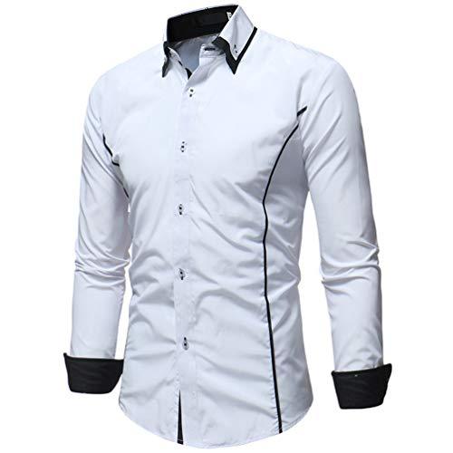 Dooxii uomo primavera autunno casuale maniche lunghe camicie moda attività commerciale slim fit due colori camicia bianca 3xl