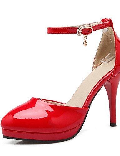 WSS 2016 Chaussures Femme-Mariage / Habillé / Décontracté / Soirée & Evénement-Noir / Rose / Rouge / Beige-Talon Aiguille-Talons-Talons-Cuir Verni pink-us10.5 / eu42 / uk8.5 / cn43