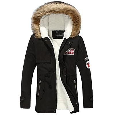 Moin Herren Winter Steppjacke Daunen Look Jacke Mantel Kapuze Parka Jacket Daunenjacke Mens Winter Coat Gefüttert Schwarz S-2XL