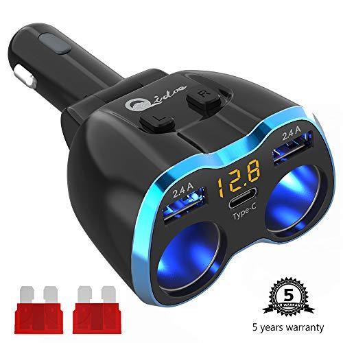 USB C Auto Ladegerät Zigarettenanzünder Verteiler Adapter Splitter Typ C Multi KFZ Ladegerät 2 Steckdose 12V/24V DC 80W mit LED Voltmeter Schalter Dual USB Port für Handy Tablet GPS Dash Kamera