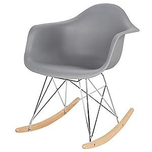 eSituro SRC0005 Schaukelstuhl Relaxstuhl Schaukelsessel Schwingsessel Sessel Kunststoff Stahl Holz Grau