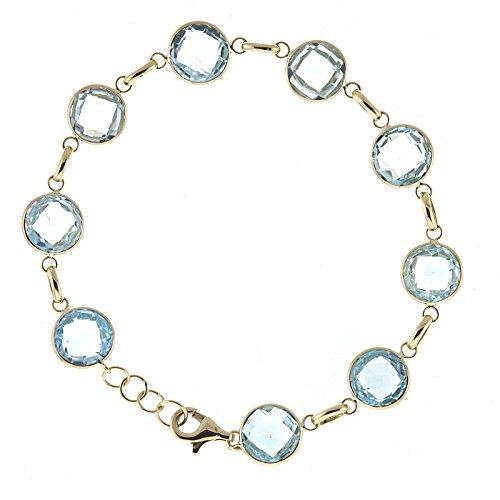 Blau Topas 10mm Edelsteine Karabinerverschluss Armband–20cm (Gelb Topas Modeschmuck)