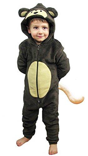 Kinder Jungen Mädchen Strampelanzug Schlafoveralls Tier Overall flauschig Fleece Jumpsuits Mops Teddybär Affe Dalmatiner Schaf Gorilla - Alter 2-13 Jahre, 3-4 Monkey mit Schwanz