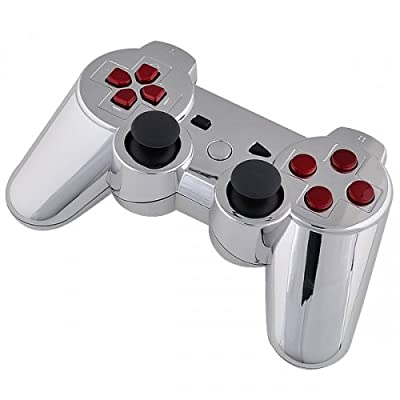 Playstation 3 Controller - Chrome with Red Buttons
