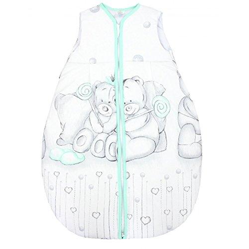 TupTam Baby Unisex Schlafsack Ärmellos Wattiert, Farbe: Kuschelbären Grau/Mint, Größe: 92-98