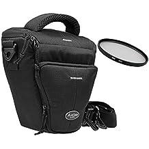 Fotos Black Holster Large Bolsa para cámara con filtro UV de 52mm para Canon EOS 1300d 1200d 760d 750d 700d 80d Nikon D7200D610D500D5500D5300D3300D3200