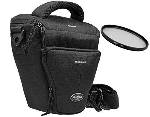 Foto Kamera Tasche BLACK HOLSTER LARGE mit UV Filter 52mm für Canon EOS 1300D 1200D 760D 750D 700D 80D Nikon D7200 D610 D500 D5500 D5300 D3300 D3200