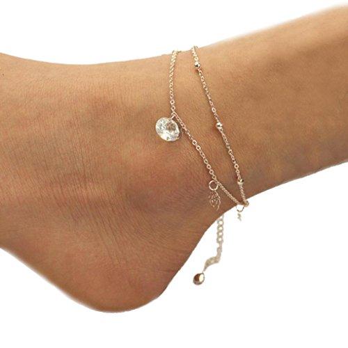 Schmuck Damen Fußkettchen DAY.LIN Mode Frauen Rose Fußkettchen Armband Sandale Barfuß Strand Fuß Schmuck (Frauen Für Fuß-tangas)