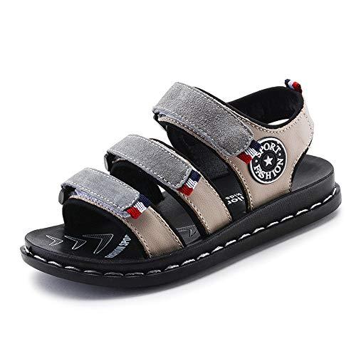 er Leder Rutschfeste Weiche Bottom Boy Strand Und Pool Sneakers Mädchen Open Toe Outdoor Sandalen (Farbe : Gray, größe : 28) ()