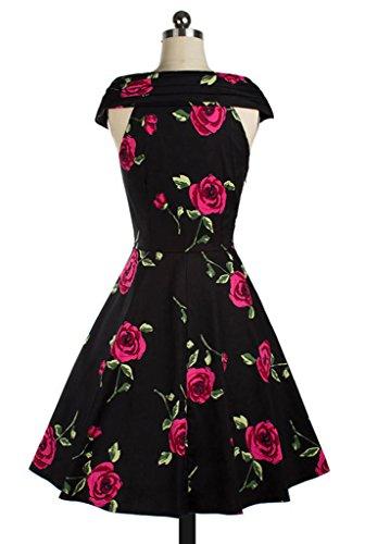 Bigood Robe Epaule Nue Femme Coton Rétro Robes Soirée Cocktail Mariage Rose Imprimé Elégant Rouge