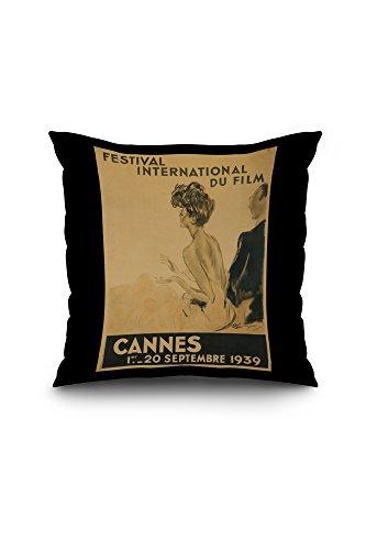 Festival International du Film - Cannes Vintage Poster (artist: Domergue) France c. 1939 (18x18 Spun Polyester Pillow Case, Black Border)