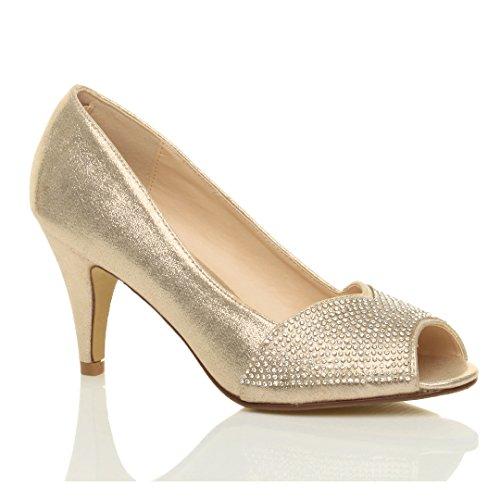 Donna tacco alto punta aperta d'orsay strass sera scarpe sposa sandali taglia Oro