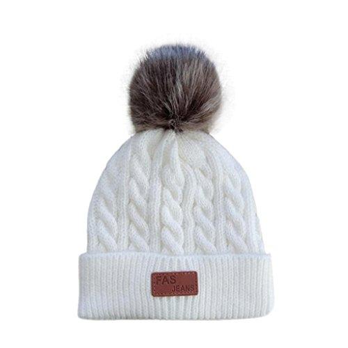 QUICKLYL Sombreros de Punto Bebé Gorro de Gorro Caliente Invierno Cálido con  Bolas Mullidas para Niños 64773278fcf