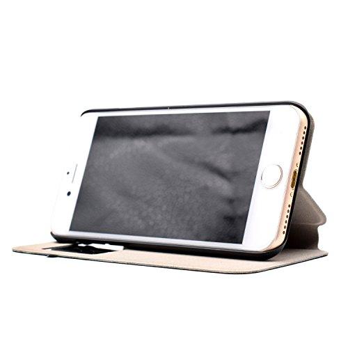 Voguecase® für Apple iPhone 7 4.7 hülle,(C/Grün Löwenzahn) Sichtfenster Kunstleder Tasche PU Schutzhülle Tasche Leder Brieftasche Hülle Case Cover + Gratis Universal Eingabestift C/be happy 03