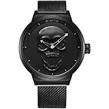 GIMTO Relojes para Hombre Creativo 3D Cráneo Guay Reloj con Acero Inoxidable Correa de Milanese Malla
