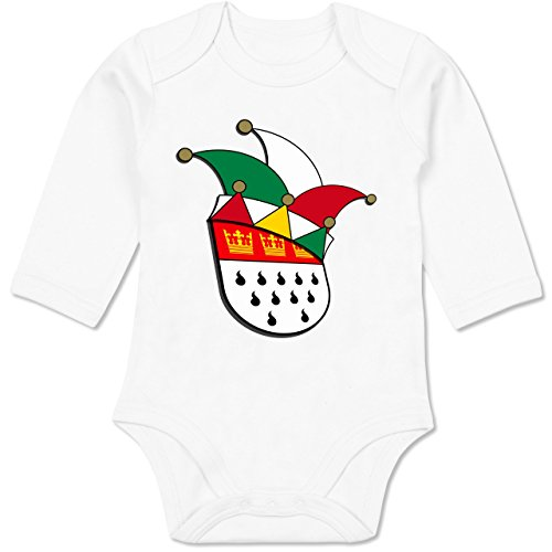 Städte & Länder Baby - Köln Wappen Narrenkappe - 3-6 Monate - Weiß - BZ30 - Baby Body Langarm