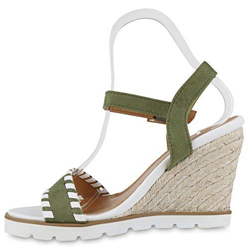 Damen Sandaletten Bast Wedges Keilabsatz Sommerschuhe Plateau Dunkelgrün