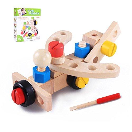 Holzspielzeug Set, Holz Tool Kit, Bau Gebäude Spielzeug, Kinder Puzzle Montage Bausteine für 3 jährige Junge und Mädchen