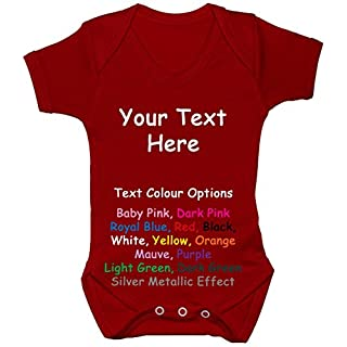 Acce Products Bespoke personalisierbar Design Your own Formulierung Baby Body/Strampler/Weste/Shirt 0bis 24Monate Gr. 68, rot
