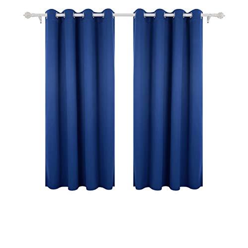 Deconovo Lot de 2 Rideaux Occultants à Oeillet Rideau Isolant Thermique Rideau Occultant pour Cahmbre 132x160cm Bleu