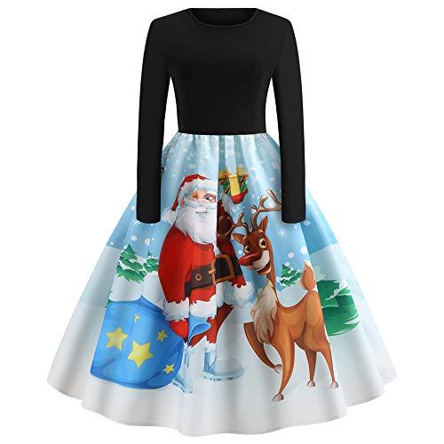 (UJUNAOR Frauen Weihnachten Kleiden Santa Print Vintage Dress Langarm Kleid Rock(Weiß,EU XS/CN S))