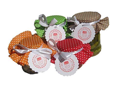 """Glashauben\""""Punkte. Set P.1\"""" 4-er Set für Marmeladengläser, mit Stoffhauben, Anhängern und Satinbändern"""