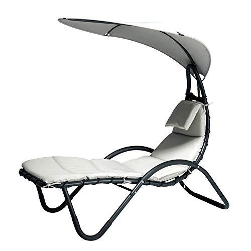 Outsunny Gartenliege Sonnenliege Polsterliege mit Kissen und Sonnendach Relaxliege ergonomisch wetterbeständig Stahl + Textilene Schwarz + Weiß 181 x 127 x 177 cm