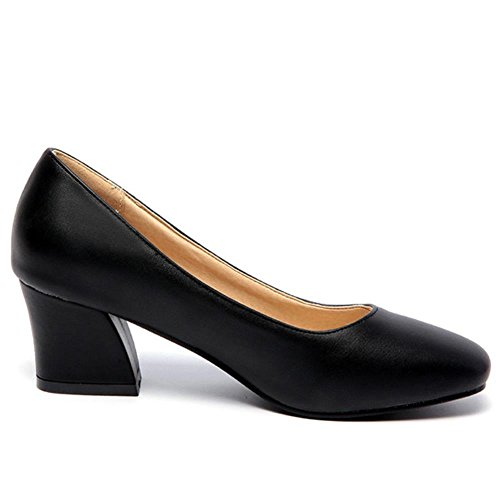 COOLCEPT Damen Slip-on Niedrige Blockabsatz Office Dress Pumps Schwarz