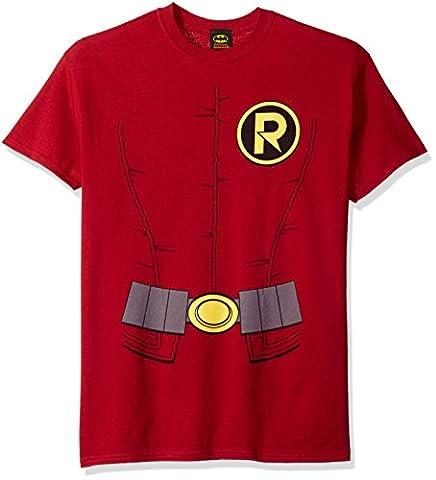 Costume Robin Rouge - Mens BATMAN Short Sleeve NEW ROBIN COSTUME