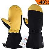 OZERO Arbeits Fäustlinge,Winter Wasserdichte Handschuhe mit 3M Thinsulate Isolierung und Anti-Rutsch Leder Palme für Snowboarden und Ski,für Herren und Damen