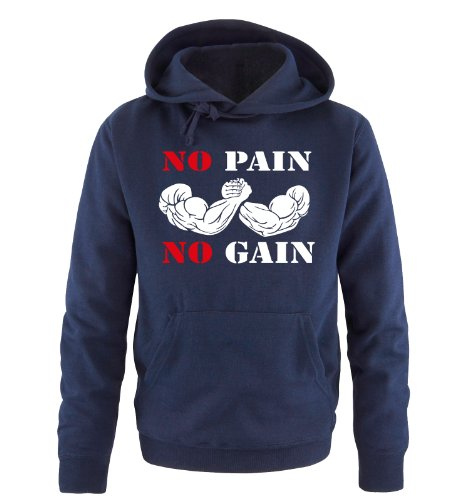 Comedy Shirts - NO PAIN NO GAIN - Uomo Hoodie cappuccio sweater - taglia S-XXL vari colori blu navy / bianco-rosso