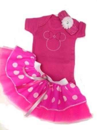 Baby Minnie Mouse Baby Suit Tutu & Headband Newborn Reborn (0-3 months) ()